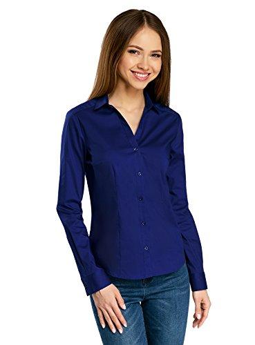 oodji Ultra Damen Taillierte Bluse mit V-Ausschnitt, Blau, DE 32/EU 34/XXS