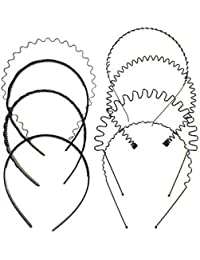 Qpower Bandas para la Cabeza 8PCS Alice Band Unisex Negro Multi-Estilo Spring Wave Metal y Plastic Hair Hoop Band, Hombres Mujeres Hair Band Accesorio Flexible, Yoga o Moda