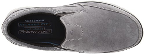 SKECHERS 64492/CHAR hinton-ORTEGO charcoal mocassino uomo memory foam gel-infused grigio grau