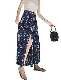 d502a22bb50db MatchLife Femme Pantalon Fleuri d été Jupe Large de loisir Beach Palazzo ...