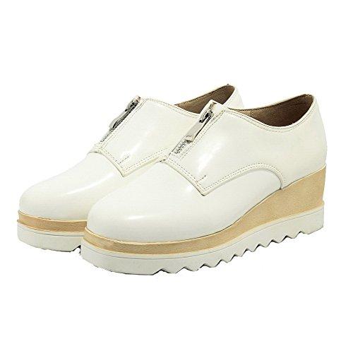 AllhqFashion Femme Zip Carré à Talon Haut Pu Cuir Couleur Unie Chaussures Légeres Blanc