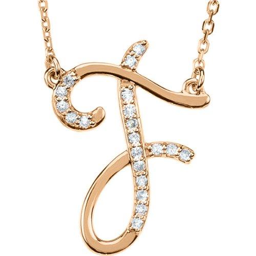 Collar pendiente inicial cursivo personalizado de diamantes 14k oro rosa, colgante inicial del collar, collar personalizado, encanto de la letra