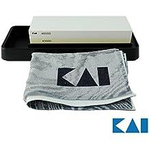 Kai Geschenkset Kombinations- Wetzstein Messerschärfer, zur Pflege von Japan Shun Messer, Edelstahl, AP-0316, 3000/6000 Körnung+ Hochwertigem Poliertuch