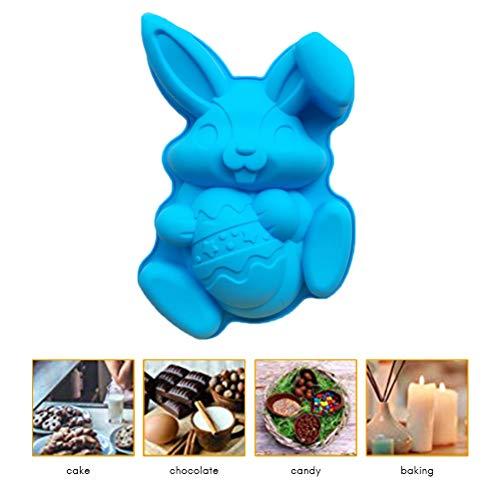 Comtervi Silikon Fondant Formen 3D Ostern Kaninchen Eier Korb Form Backform für Kuchen Pudding Mousse, Kuchen Backen Antihaft-Schimmel 30,4 * 19,6 * 5,2 cm (Schokoladenform Korb)