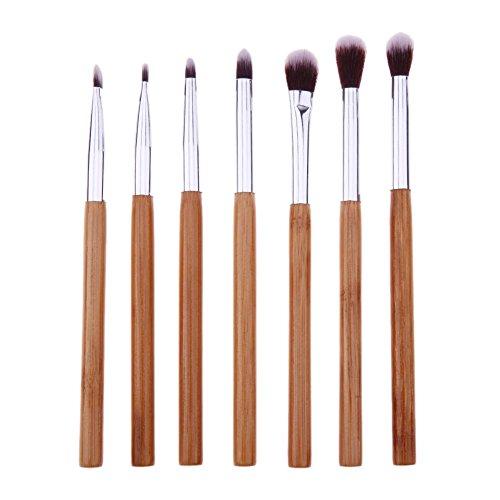 Domybest 7 pcs Poignée en bambou Yeux Maquillage Brosse de fard à paupières Eyeliner outils de maquillage