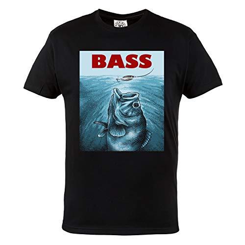 Rule Out Herren Casual T-Shirt. Fish Bass. Angeln. Fischen T-Shirt. Schwarz(Größe Large) - Bass-fischen-shirt
