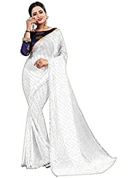 fc9d44b0bed7c Clickedia Women s Plain with Sequin embellishment -Semi Georgette Sari With  Golden Foil Border and Exclusive