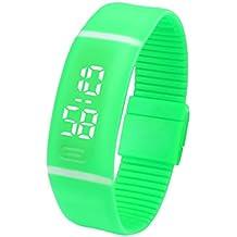 Fami Delle donne degli uomini di gomma Data di sport bracciale orologio da polso digitale (Verde)