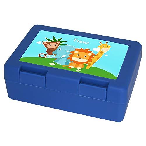 Brotdose mit Namen Franz und Tier-Motiv mit AFFE, Elefant, Löwe und Giraffe für Jungen | Brotbox blau | Vesperdose | Vesperbox | Brotzeitdose mit Vornamen