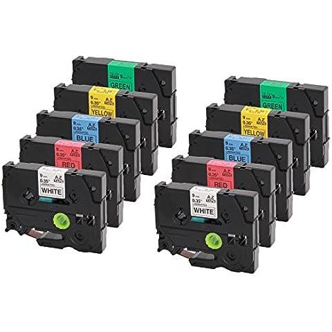 Set di 10 Nastro Tape Cassette Brother Tze-231-731 12 millimetri di larghezza x 8m lungo compatibile con TZ 231 / TZ 431 / TZ 531 / TZ 631 / TZ-731 P-Touch 1830 2730 7100 2100 1000W VP D200 2030 1830 7600 2430 1230 9700 1090 2470 1290 1010 1080 1830 H75S PC E100 P700 H105