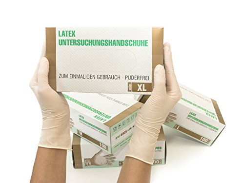 Latexhandschuhe 100 Stück Box (XL, Weiß) Einweghandschuhe, Einmalhandschuhe, Untersuchungshandschuhe, Latex Handschuhe, puderfrei, unsteril, disposible gloves, white, X Large
