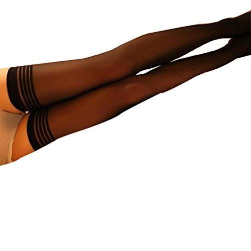 Strümpfe Damen AMUSTER Fischnetz Strümpfe Strumpfhosen Sexy Streifen Silk Strümpfe über Kniestrümpfe Reizwäsche Mesh Unterwäsche Nachtwäsche Lingeries (One size, Schwarz) (Gold-fischnetz-strumpfhose)