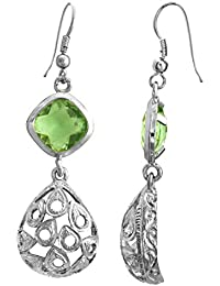 Spargz Green Color Synthetics Stone Rhodium Plating Dangle & Drop Hook Earrings For Women AIER 965