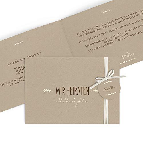 Hochwertige Einladungskarten zur Hochzeit im edlen Kraftpapier Look mit Anhänger | Designs auswählbar | Hochzeitseinladungen mit Druck Ihrer eigenen Texte | 20 Stück | Rustic Vintage | Hochzeitskarten (Silberne Hochzeit Sand)