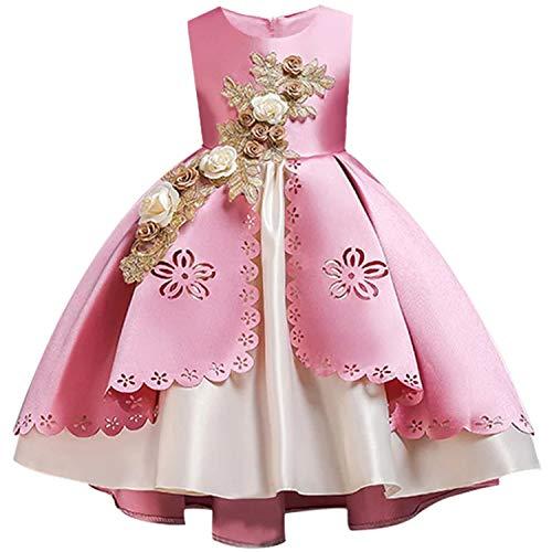 EARIAL& 2019 Summer Kids Dresses for Girls Elegant Princess Dress Children Evening Party Dress Flower Girl Wedding Gown Vestido infantil Sky Blue 4 (2019 Chicago Ball Halloween)