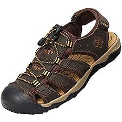 Moollyfox Sandalias de PU-Cuero Acolchadas Para Hombre Calzado Deportivo Marron Oscuro Longitud de Pie 280 MM