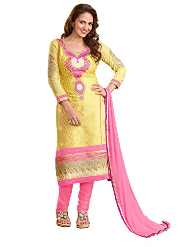 Khushali Women Embroidered Unstitched Salwar Suit (Yellow)  available at amazon for Rs.1099
