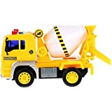 IndusBay Friction Powered Pull Along Construction Automobile Cement Concrete Mixer Truck Toy With Light & Sound For Kids