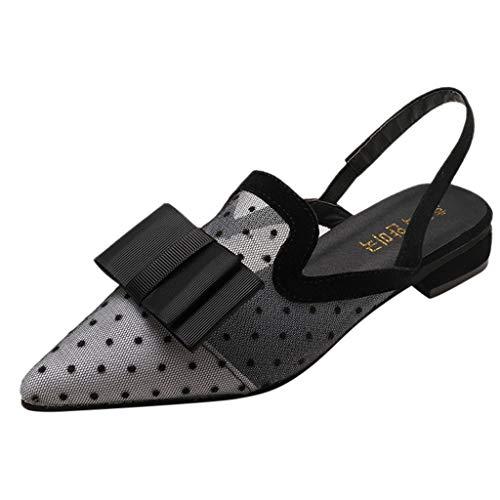 MuSheng♥ Frauen Flache Schuhe Wies Einzelne Schuhe Einfarbig Lässig Schuhe Elegante Damenschuhe Damenmode Tupfen Schmetterling Knoten Dünne Absätze Spitz High Heels Schuhe (Flache Stabilität Ball)