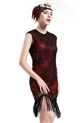 BABEYOND Damen Kleid voller Pailletten 20er Stil Runder Ausschnitt Inspiriert von Great Gatsby Kostüm Kleid (Größe M / UK12-14 / EU 40-42, (Kleid Hochzeits Kostüme Halloween)