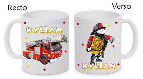 Mug céramique pompier personnalisé avec prénom