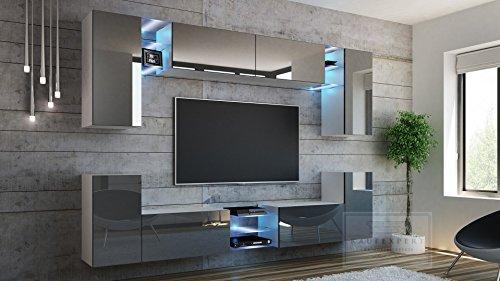 Wohnwand G Grau Hochglanz/ Weiß ✔ Gehärtetes Glas ✔ ABS- Kanten ✔ Kanten in Hochglanz ✔ MDF-Fronten ✔ LED Beleuchtung ✔ Push To Open ✔ Grifflos ✔ Modern ✔ Design ✔neue bessere Version (anderer Hersteller) - 2