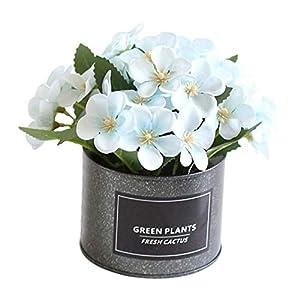 little finger Pequeña Flor de Begonia Artificial, Maceta de Flores de Begonia Artificiales, Maceta de Hierro, bonsái…