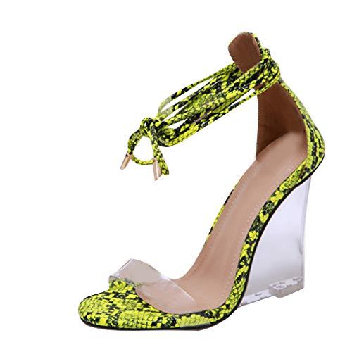 SHE.White Roman Serpentine Band Transparente Crystal Slope-Heels Damen Sandaletten PU Römische Riemchen Keilschuhe aus Kristall Sommerschuhe 35-40