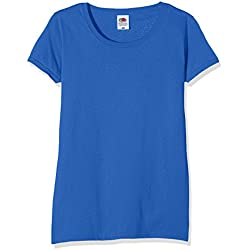 Fruit of the Loom Ss129m, Camiseta para Mujer, Azul (Royal), M (Talla Fabricante 12)