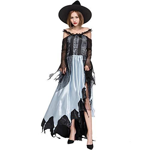 Scary Kostüm Weiblich - Luckydlc Weibliche Halloween Scary Kostüm Hexe Kostüm Schwarz Langarm Vintage Asymmetrische Kostüm Stock Kleid Party Dekoration luckydlc (Color : Black, Size : S)