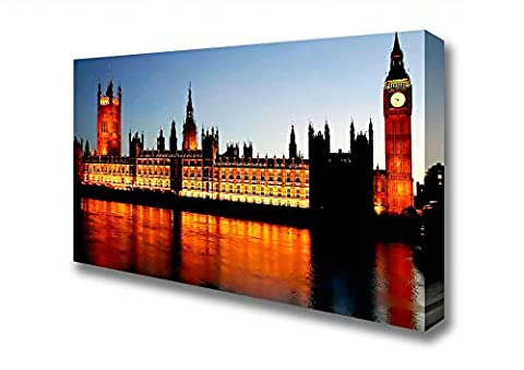 Wide Reflections Of London Houses Of Parliament Night Lights Canvas Art Prints - Extra Large 32 x 64 inches
