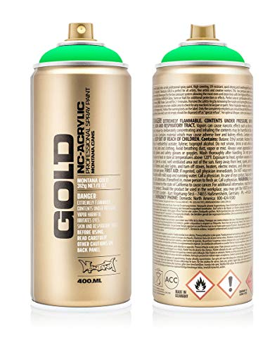 Montana Cans 283888 Montana Spray Dose Gold 400ml-FLUORESCENT Colors, Gld400-f6000-Acid Green - Montana-spray