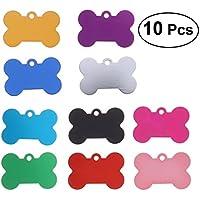 UEETEK Placas de identificación para perro etiquetas grabadas del mascotas Forma de hueso para gatos Perrito 10 piezas