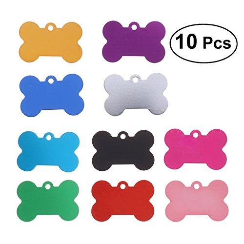 UEETEK Placas de identificación perro etiquetas del mascotas Forma de hueso para...