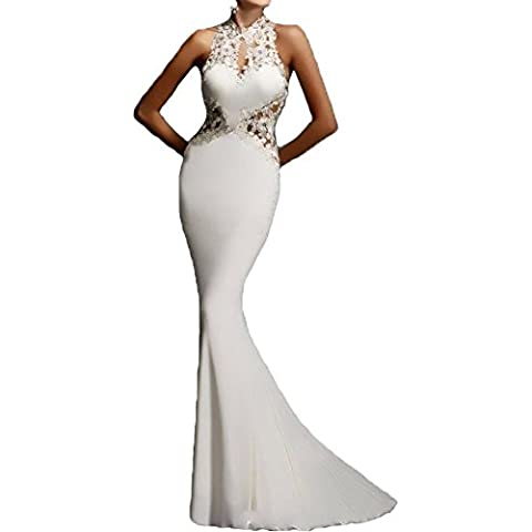 SaiDeng Mujer Largo Vestido Elegante Cabestro Vestidos Sin Mangas Encaje Vestido
