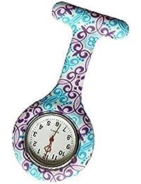 Hilai BOMIEN - Reloj de Bolsillo para Enfermera, Esfera Redonda de Silicona, Cuarzo