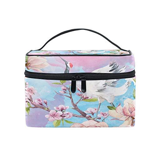 WowPrint Japan Kran Kirsche Blühen Design Kosmetiktasche Kulturbeutel großer Reise Organizer Waschen Tasche Make-up-Tasche Kulturtasche für Damen Herren Unisex -