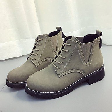RTRY Scarpe Donna Pu Inverno Comfort Moda Stivali Stivali Chunky Tallone Punta Tonda Mid-Calf Stivali Lace-Up Per Casual Kaki Nero US6.5-7 / EU37 / UK4.5-5 / CN37