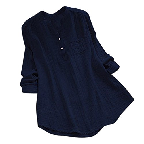 DAY.LIN Frauen Langarm V-Ausschnitt lose Top Frauen Stehkragen Long Sleeve beiläufige lose Tunika Tops T Shirt Bluse (Marine, EUXS/M)