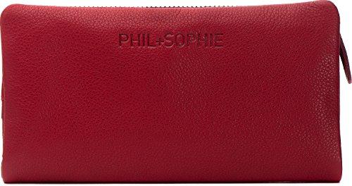 PHIL+SOPHIE, Cntmp, Damen Geldbörsen, Geldbörsen, Börsen, Langbörsen, Portemonnaies, Brieftaschen, 18,5 x 9,5 x 4 cm (B x H x T), Farbe:Rot
