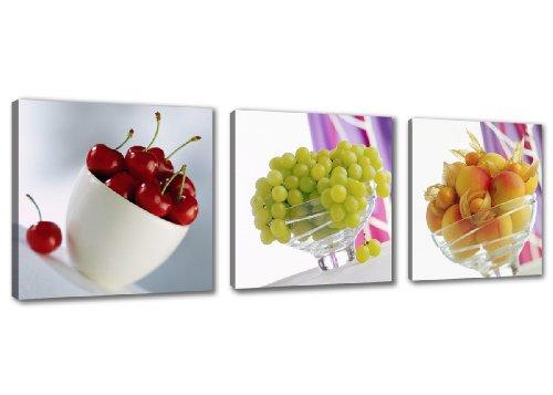 Visario 4218 - Cuadros y grabados sobre lienzo, cuadro 150 x 50 cm, frutas, tres partes