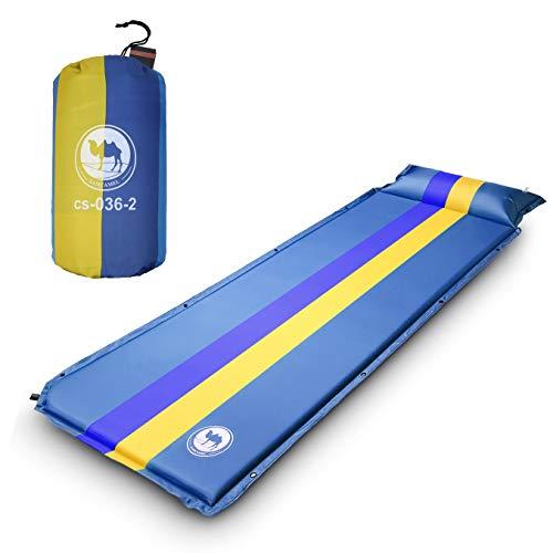 EKKONG Esterillas Autoinflables, Colchoneta de Camping con Bolsa, para Camping, Viajes, Senderismo, Mochilero, Playa, 190 x 68 x 3.5 cm (Azul)
