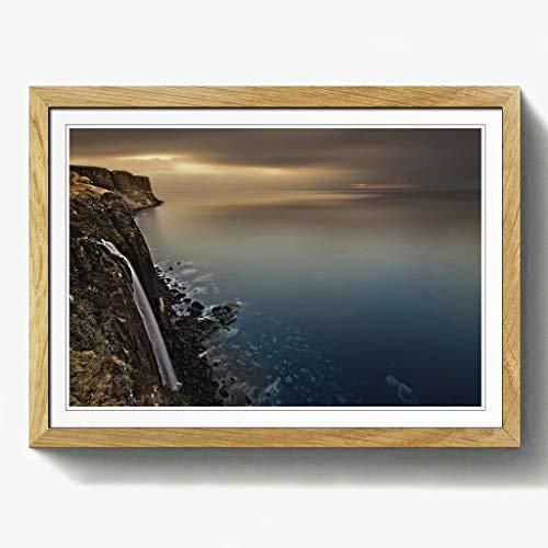 BIG Box Art Landschaft Isle of Skye Schottland Wasserfall Druck mit Eichenholz Rahmen, Mehrfarbig, Größe A2, 24,5x 18_ P, Holz, Eiche, 24.5 x 18-Inch/A2 -