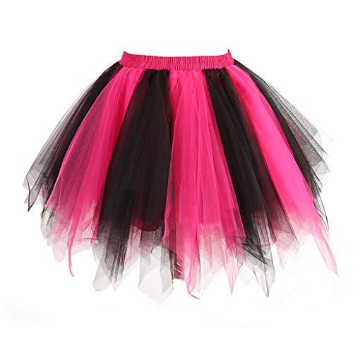 MuseverBrand 50er Vintage Ballet Blase Firt Tulle Petticoat Puffy Tutu Black/Fuchsia ()