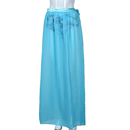 Bikini Couvrir Clode® Robe en Mousseline de Soie Pour Femme Sarong Pareo Beach Bikini Maillots de Bain Cover Up ❀: Bleu