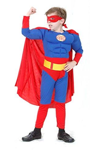 KULTFAKTOR GmbH Superhelden-Kostüm für Kinder rot-blau 134/140 (10-12 (11 Jahre Superhelden Kostüm)