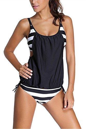 Women Striped Bikini Swimsuit Tankini Top Swimwear