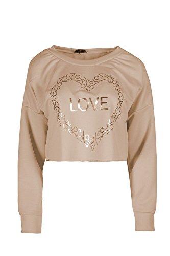 Be Jealous Frauen Damen Beiläufig Lose Ausgebeult Ernte LIEBE Golden Übergroße Mini T Shirt Kleid Uk Größe 8-16 Stein