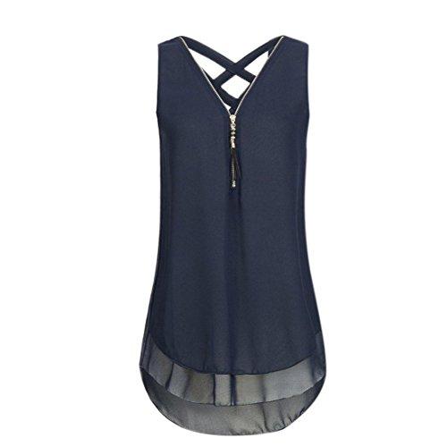 se Kreuz zurück Saum Gelegt Reißverschluss V-Ausschnitt ärmellose Weste (Blau, M) (Slipknot Anzug)