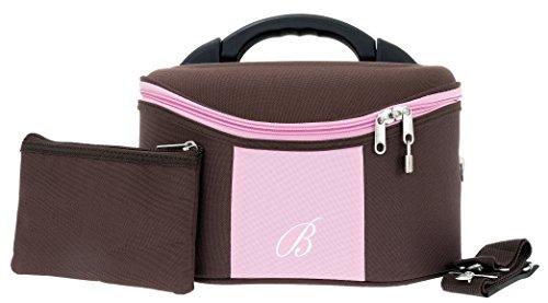 Beautycase Spear Schminkkoffer Kosmetikkoffer mit Extra Polstertasche (ROSA (Rosa/Braun))
